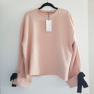 ZARA PINK PULLOVER SWEATSHIRT WITH BOW SLEEVES